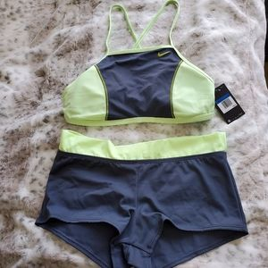 Nike 2 piece Boyshorts Neon Green & Gray Swimsuit